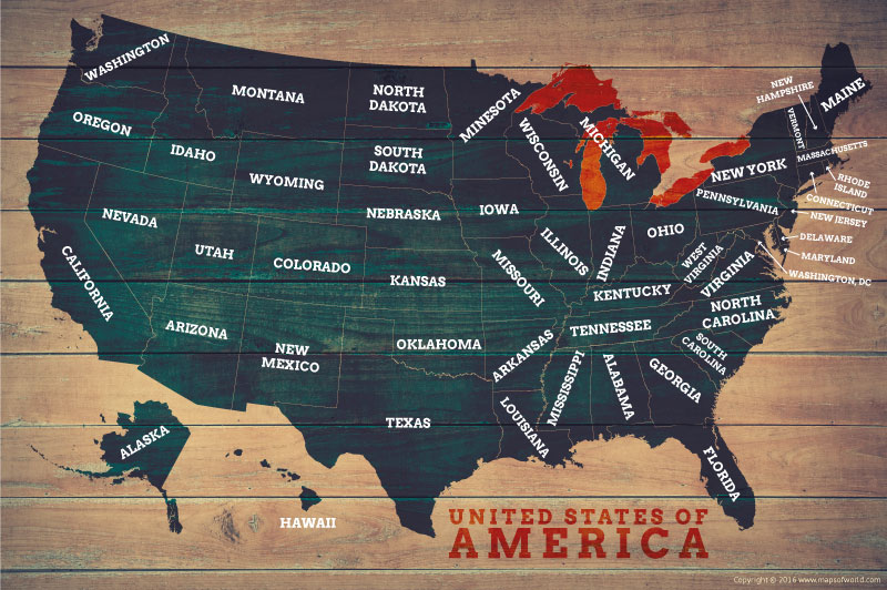 US Map Posters  Map of the United States Poster USA Wood Map Poster