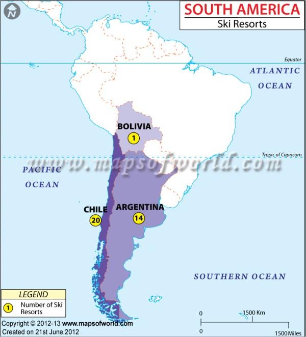 Ski Resorts in South America, South America Ski Resorts Map