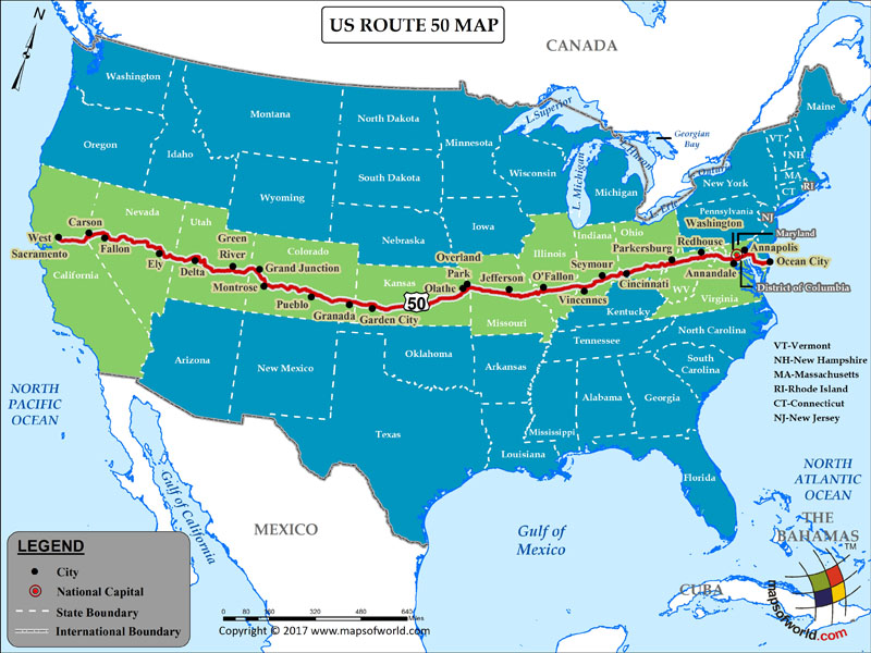 The national highway system includes the interstate highway system, which had a length of 46,876 miles as of 2006. Us Route 50 Map For Road Trip Highway 50