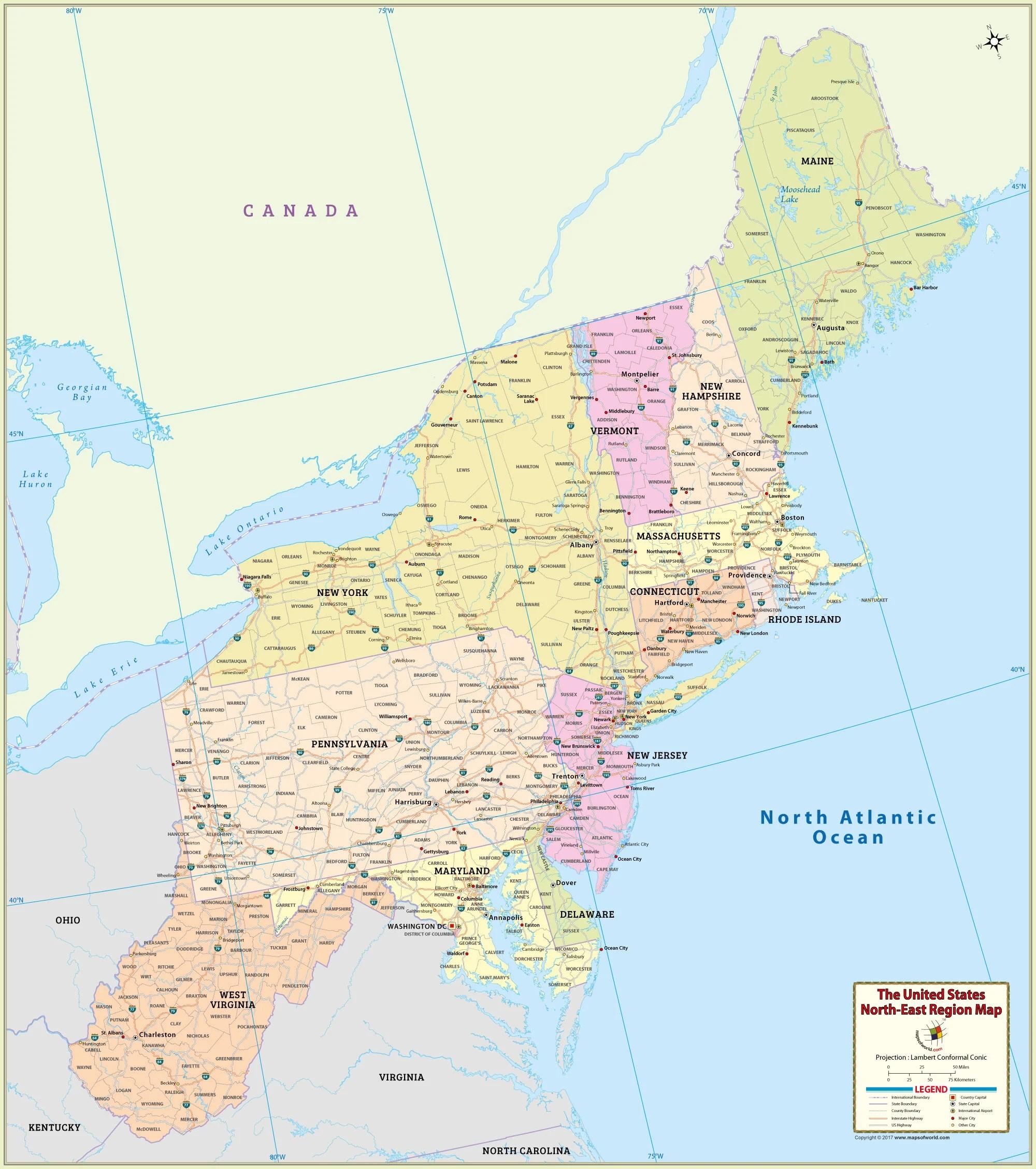 Large Us Northeast Region Map Hd X Pixel