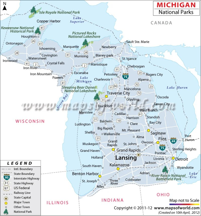 Michigan National Parks Map