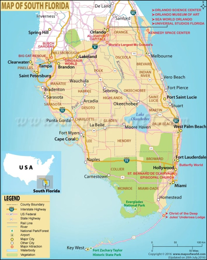 map of south florida, south florida map
