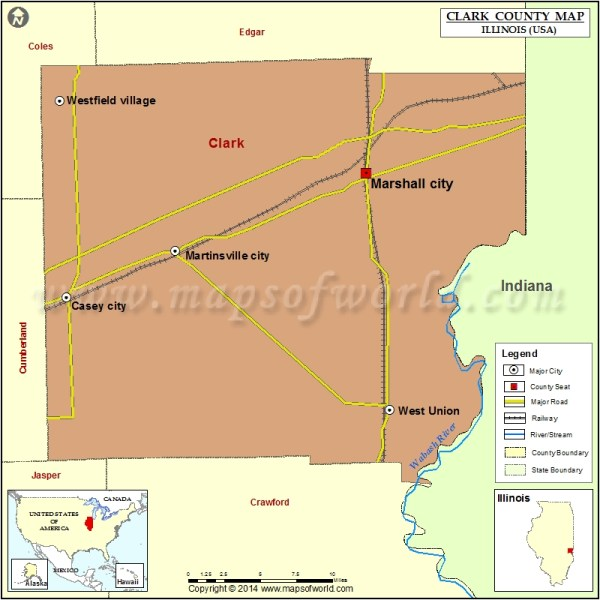 Clark County Map, Illinois