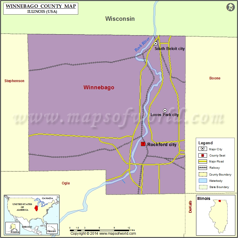 Map Rockford Illinois Cities