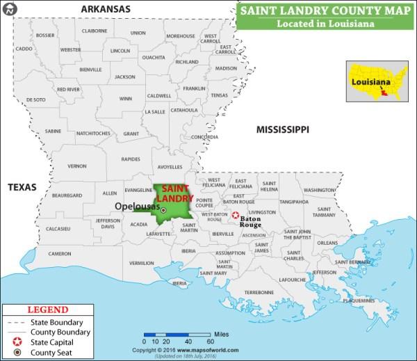 St Landry Parish Map, Louisiana