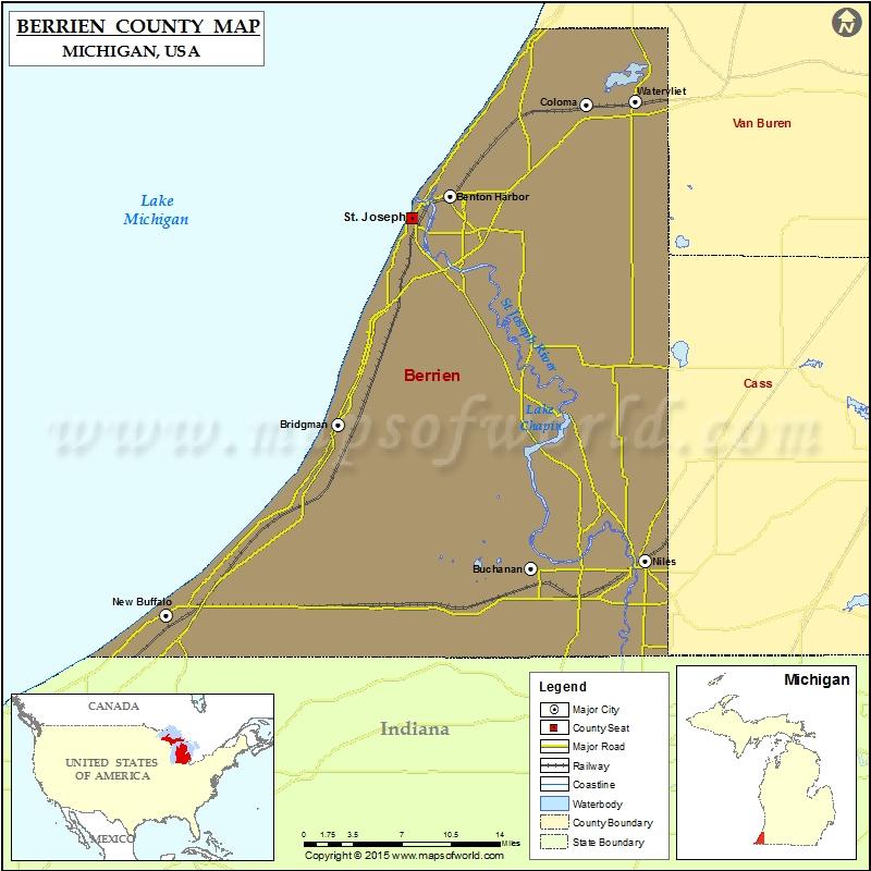 Berrien County Map Michigan