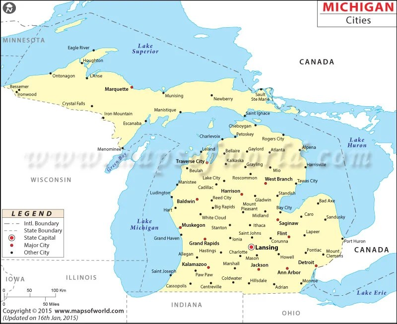 Map Michigan Cites And Woods