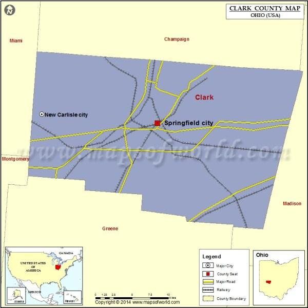Clark County Map, Clark County Ohio