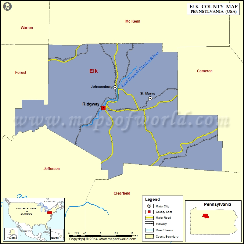Elk County Map Pennsylvania