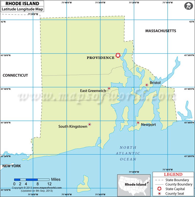 A rhode island state map with landmarks and places in rhode island. Rhode Island Latitude And Longitude Map