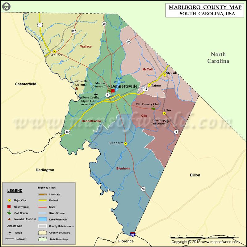 Marlboro County Map South Carolina