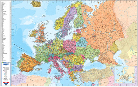 Europe Wall Map Easy To Read Full Colour Map Mapstudio