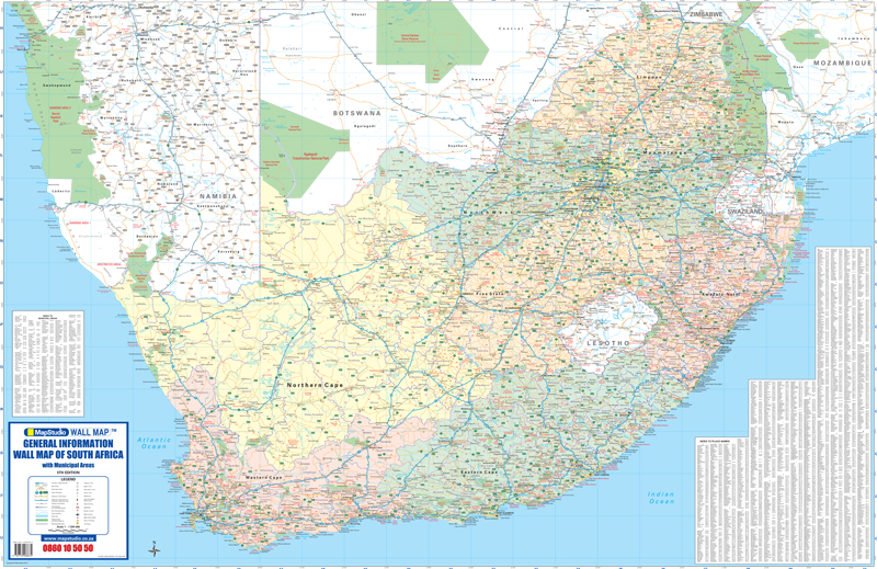 Map Of South Africa Showing 9 Provinces.General Information Wall Map South Africa Mapstudio