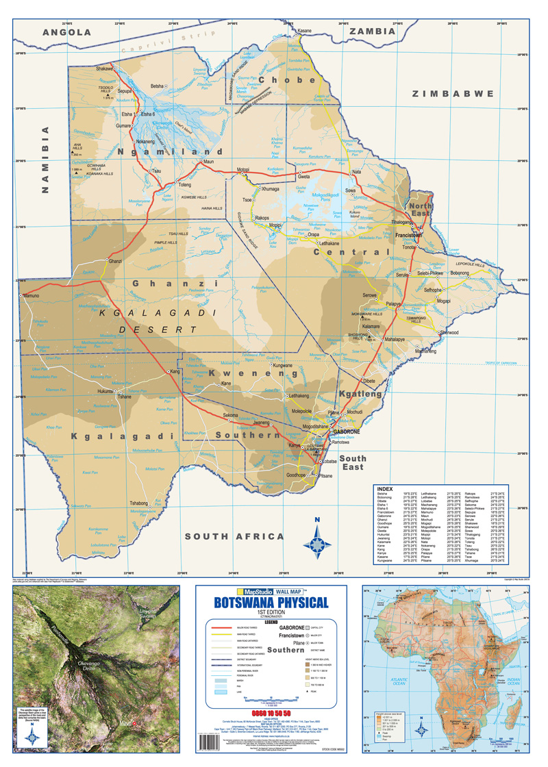 Botswana Physical Wall Map MapStudio