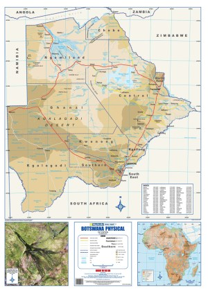 Botswana Physical Wall Map