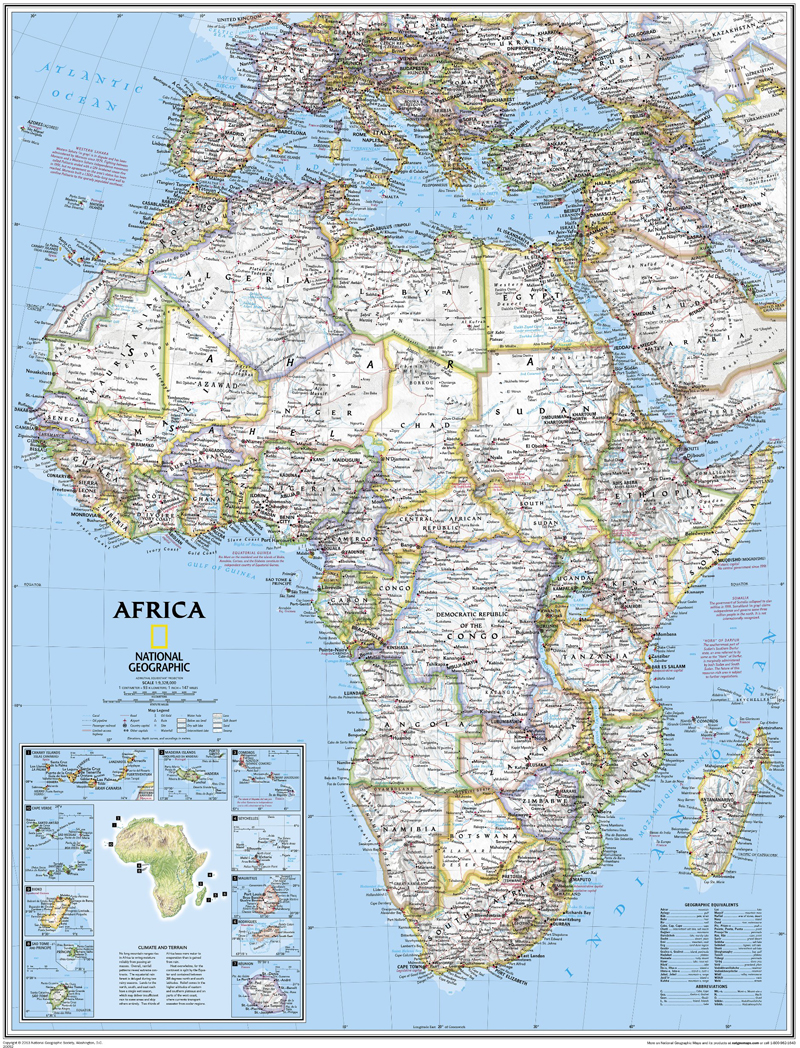 Africa Political Wall Map National Geographic