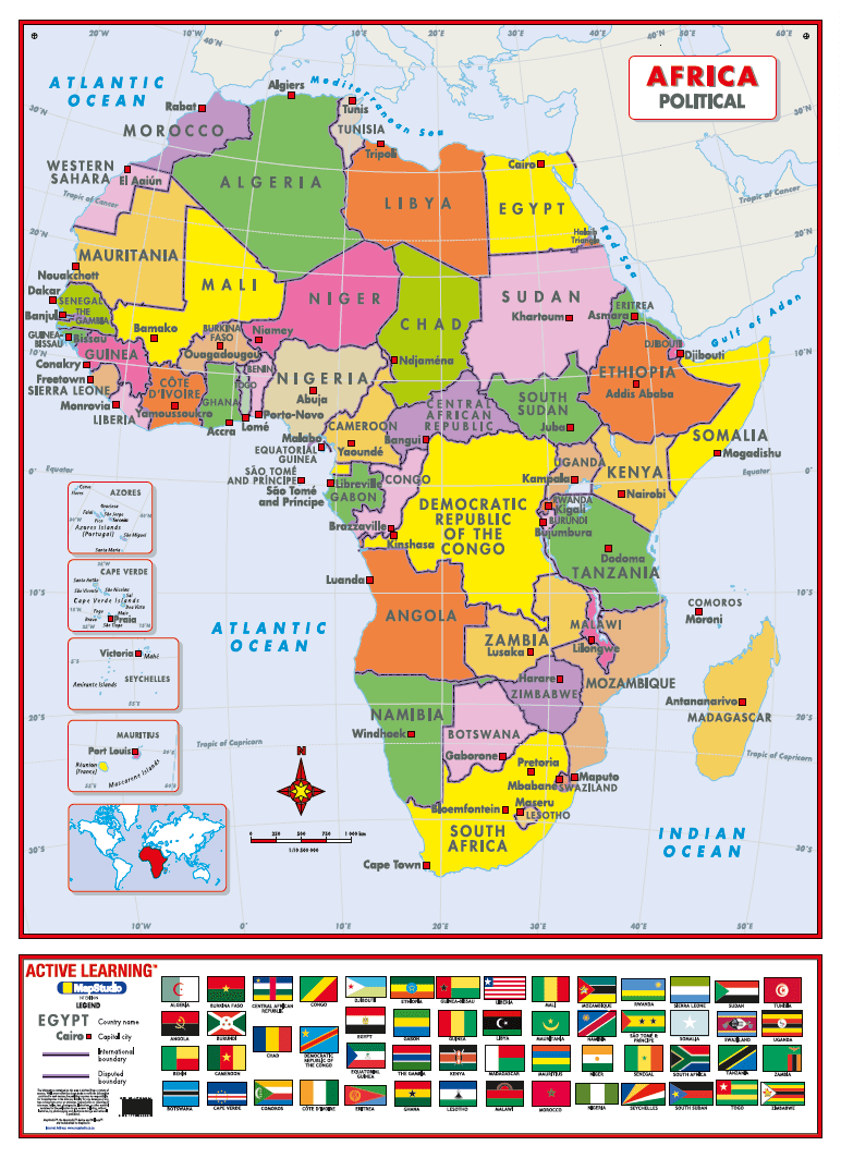 Political Africa Map Africa Political Active Learning Wall Map   MapStudio