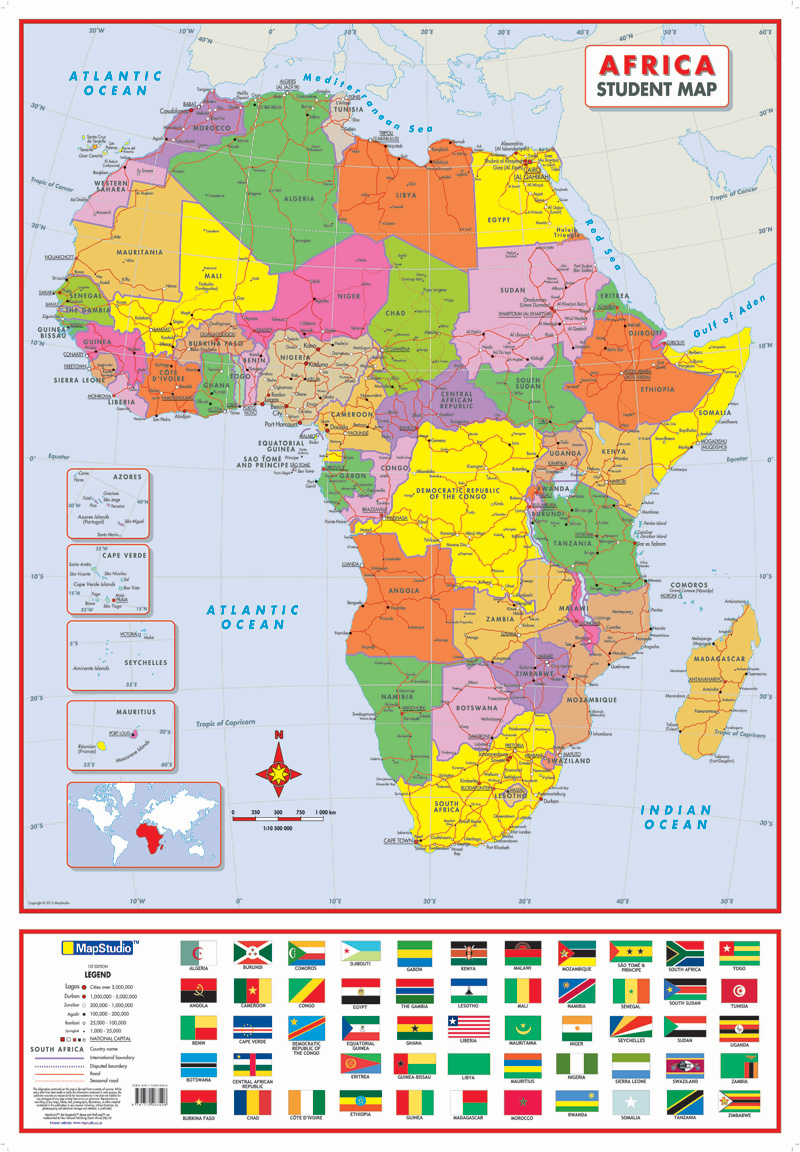 Africa Political Tube Poster Map - map of the African continent