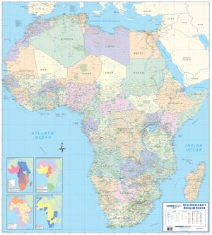 Africa Businessman's Mining, Minerals Wall Map