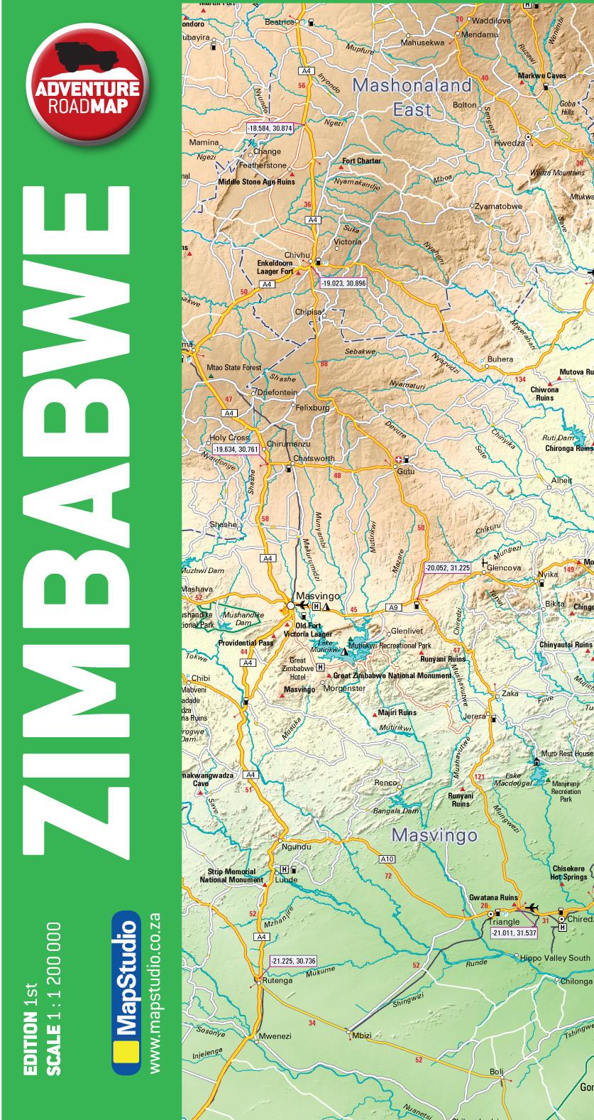 Zimbabwe Adventure Road Map - ePDF - MapStudio