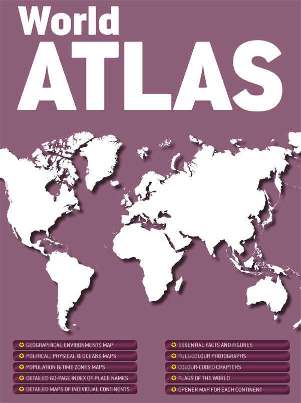 World Atlas has detailed maps of individual continents