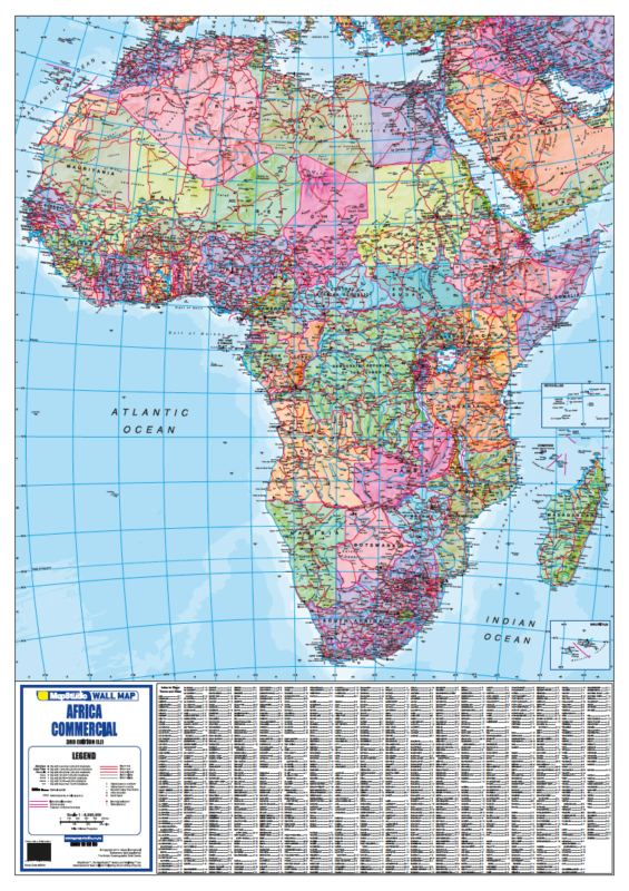 Map Of Africa Map.Africa Commercial Wall Map Detailed Wall Map Of Africa