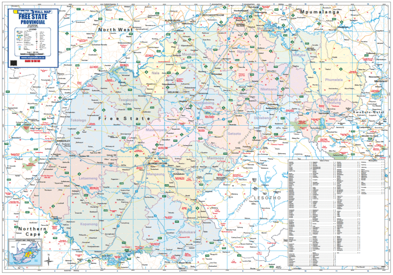 Free State Provincial Wall Map R1500 00