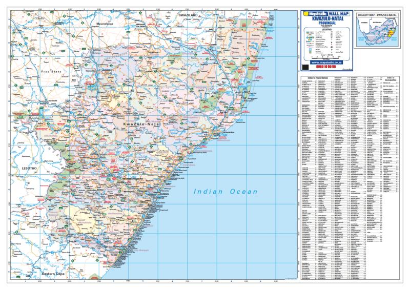 Kwazulu Natal Provincial Wall Map R1500.00