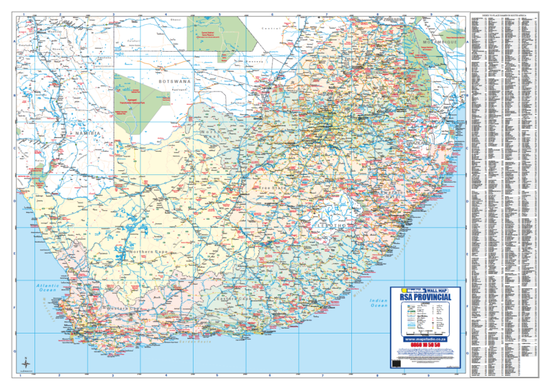 South Africa Map.South Africa Provincial Wall Map Detailed Wall Map Of South Africa