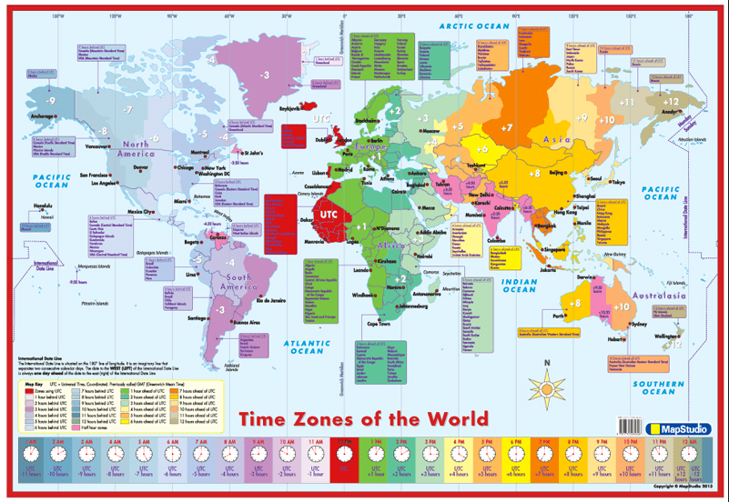 World Time Zones Wall Map - Detailed wall map of the World Time Zones