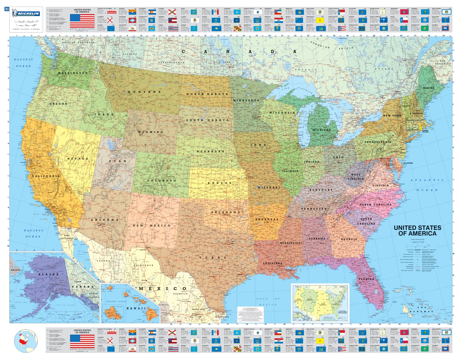 Usa Political Wall Map Us Usa Flags And Insets Of Alaska And Hawaii