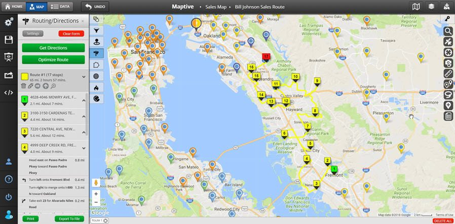 Custom Map Creator   Map Maker   Maptive A map showing the driving directions between 17 stops in the San Francisco  Bay area