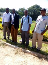 From right to left: Stuart, Frighton, a teacher from Bandawe and Clement