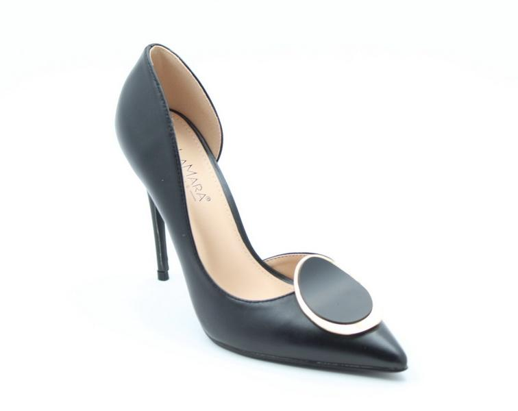 Abra high heel court shoe black