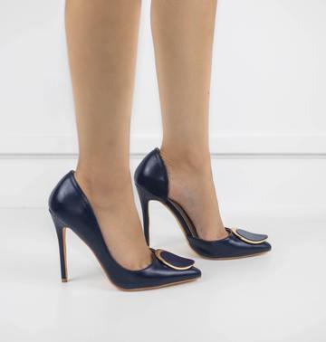 Abra high heel court shoe navy