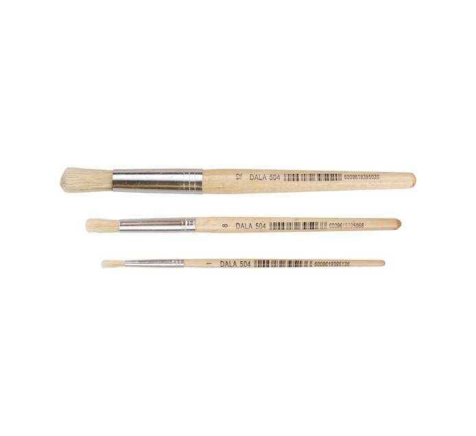 Dala Round Bristle Paint Brushes 3-Pack Assorted