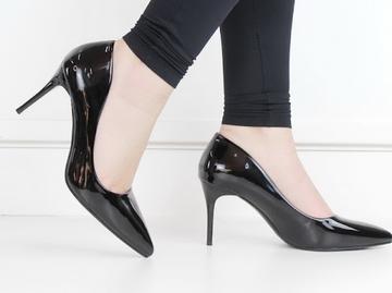 Fonda patent pu court on 10cm heel black