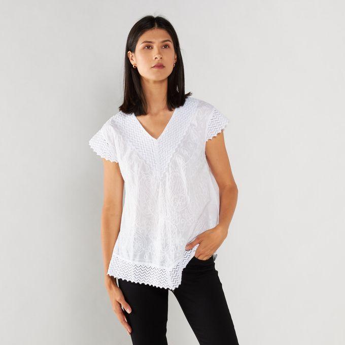 Joy Collectables Detailed Cotton Shirt White