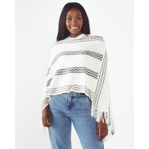 Joy Collectables Hooded Poncho With Stripes Cream