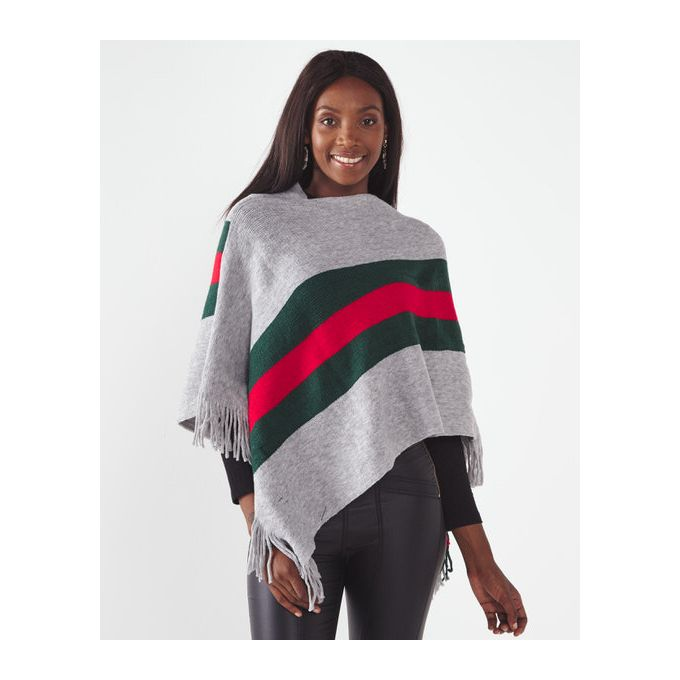 Joy Collectables Middle Stripe Poncho Grey