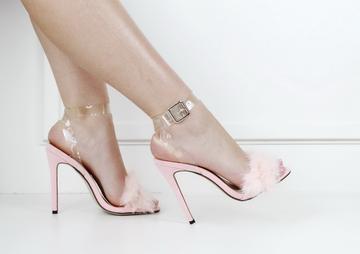 Karisma fur vynl ankle strap sandal pink