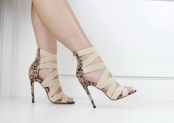 Kiki snake print elasticated high heel sandal nude
