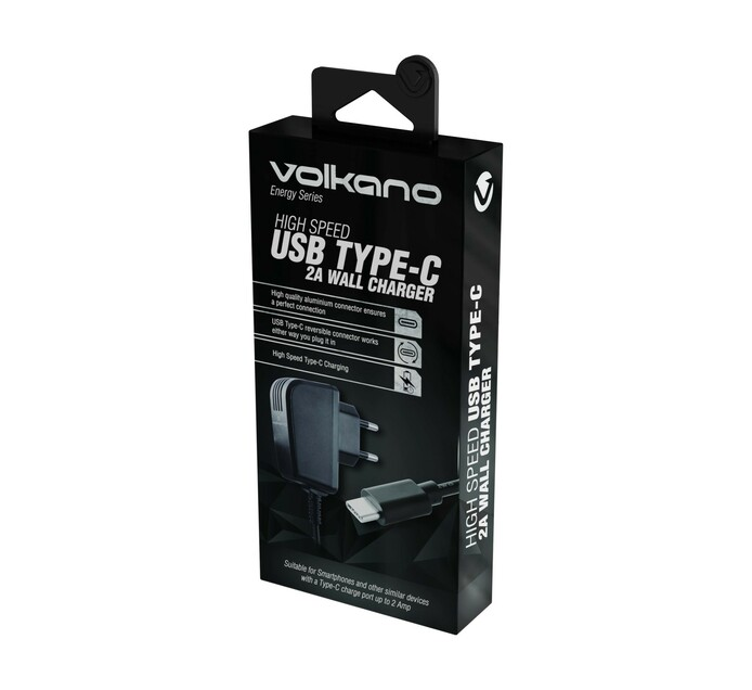 Volkano Energy Series USB Type - C 2A Wall Charger Black