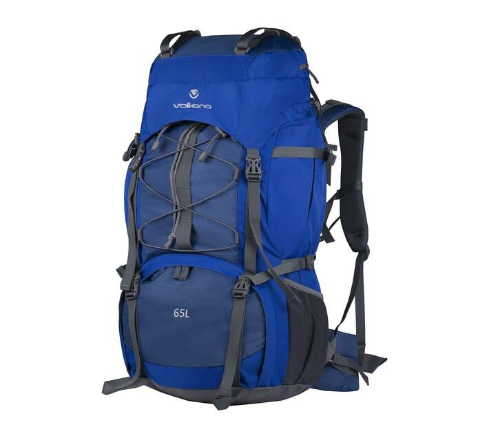 Volkano Icepick Series Backpack in Blue with 65 Litre Capacity and Rain Cover