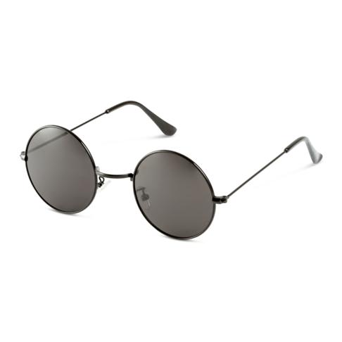 Men's Black Round Sunglasses