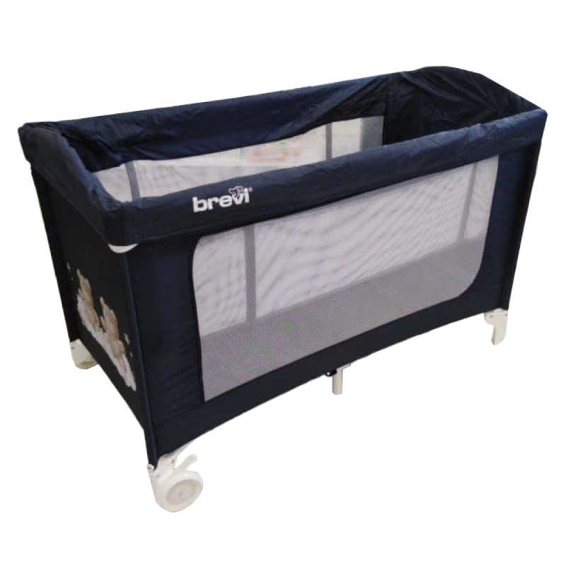 Brevi Camp Cot Standard Size Navy Teddy Print