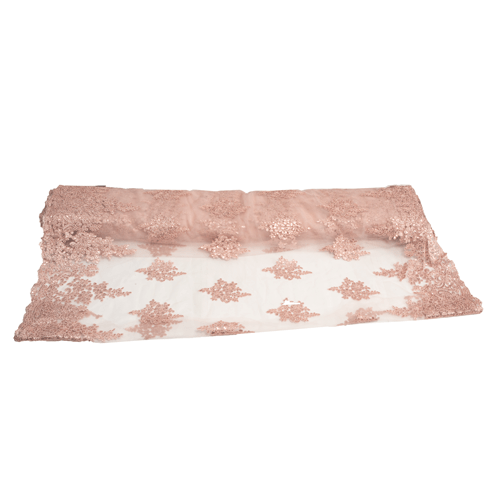 Embroidered Tulle - Dust pink Star-Leaf