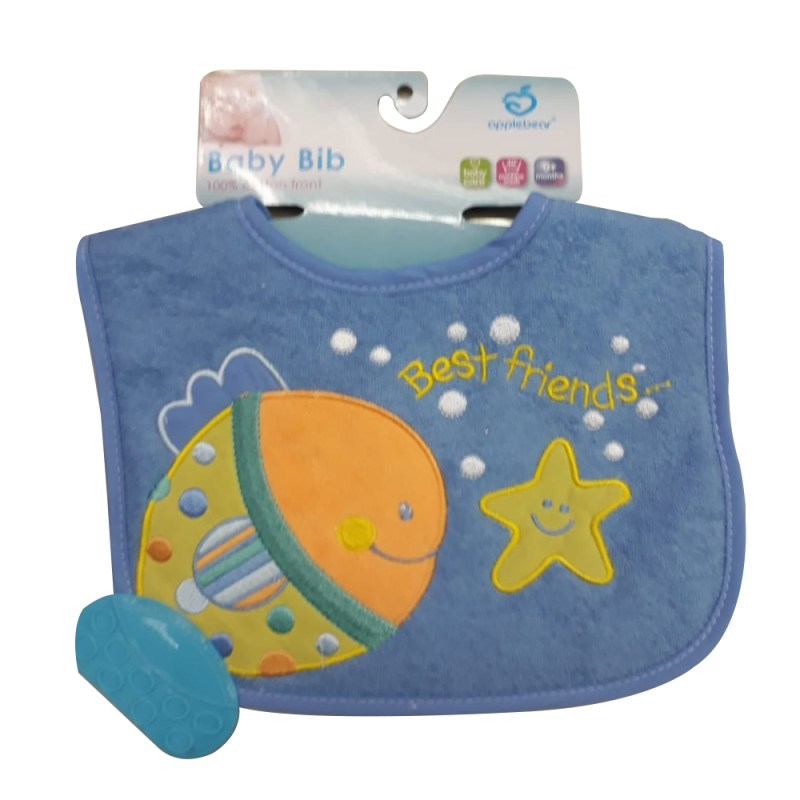 Perfect for the teething and drooling baby Soft absorbent cotton feel 2 pack bib 100% Cotton front Machine washable Beautiful embroided design Includes teeher