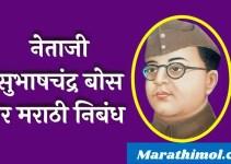नेताजी सुभाषचंद्र बोस वर मराठी निबंध Essay on Subhas Chandra Bose In Marathi