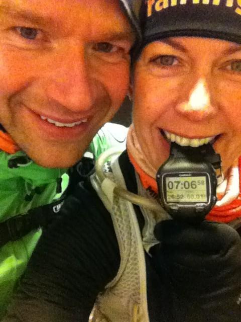 Robert och jag efter drygt 6 mils löpning. Starka, glada och pigga. Foto: privat